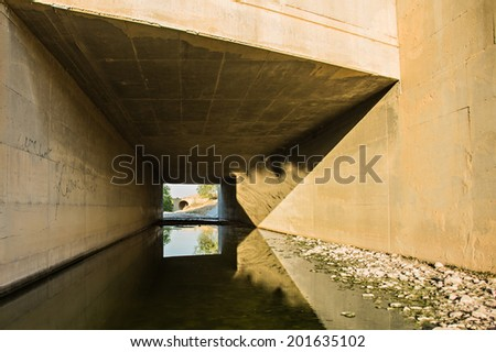 architectural building stone walls bridge flowing water
