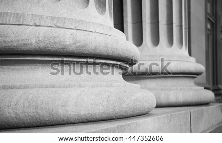 Architectural Columns in a Classic Federal Building in Black and White - stock photo