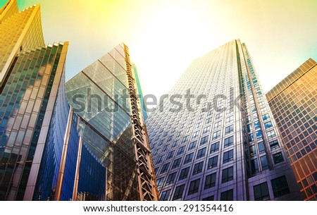 Architectural composition made of modern buildings. Abstract business background - stock photo