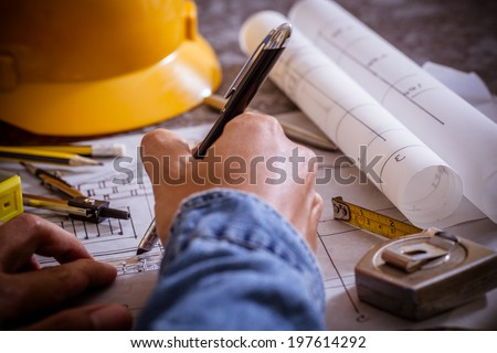 Architectural design and project blueprints drawings - stock photo