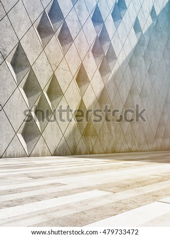 Architectural design of buildings made of concrete blocks. 3D illustration.