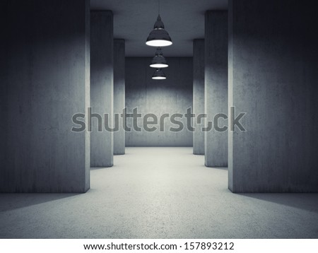 Architectural design of corridor with lamps - stock photo