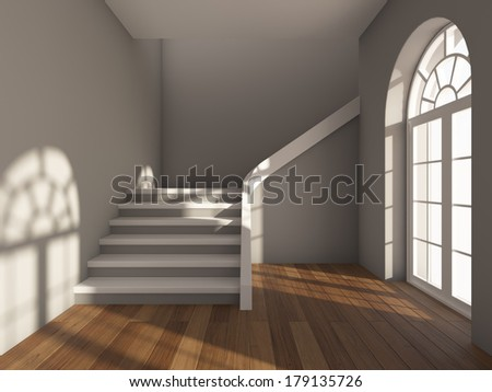Architectural design of corridor with staircase and  large window - stock photo