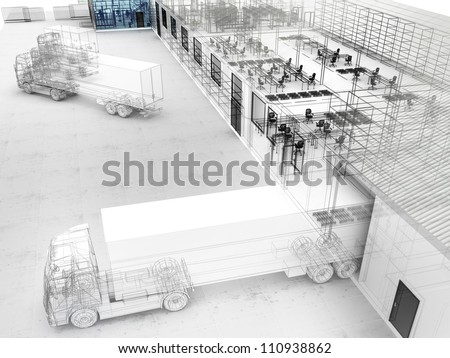 Architectural design of factory with offices, warehouse and shipping service. - stock photo