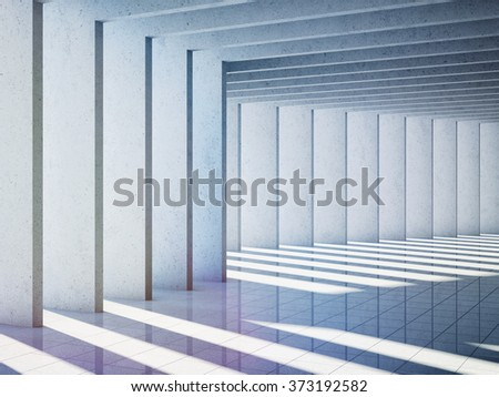 Architectural design of modern concrete hall. 3d rendering. - stock photo
