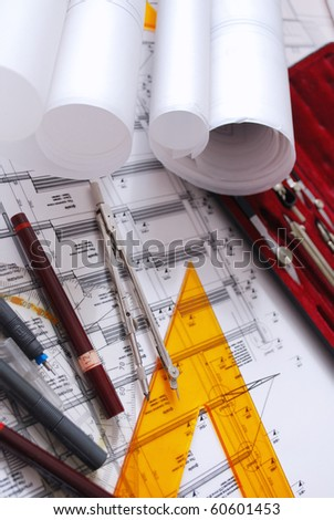 architectural desk - stock photo
