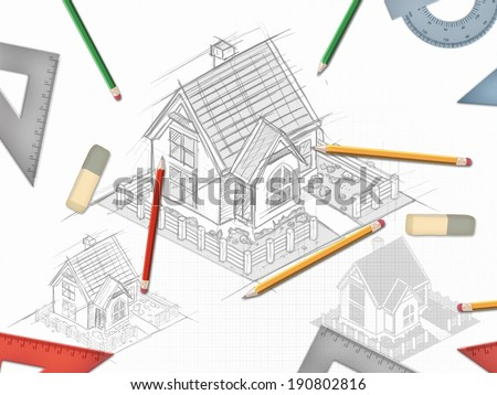 Architectural desk hand drawn project with set of tools illustration - stock photo
