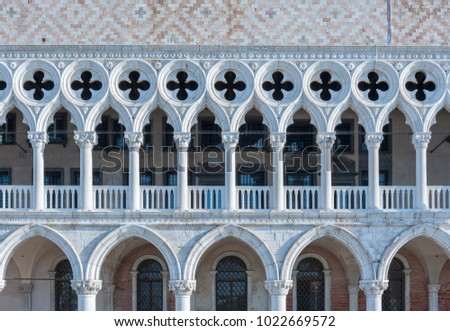 Architectural detail - Doge's palace in St Mark's Square in Venice, Italy