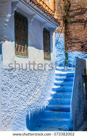 Architectural detail in Chefchaouen, Morocco, Africa - stock photo