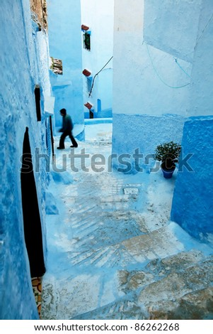 Architectural detail in Chefchaouen old Medina, Morocco
