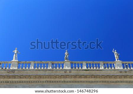 Architectural detail in Piazza del Campidoglio, Rome, Italy, Europe - stock photo