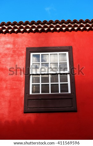 Architectural detail in the old Town of San Cristobal de La Laguna, Tenerife, Canary Islands - stock photo
