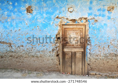 Architectural detail in the Peruvian mountain village of Llamac, Cordiliera Huayhuash, Peru, South America - stock photo