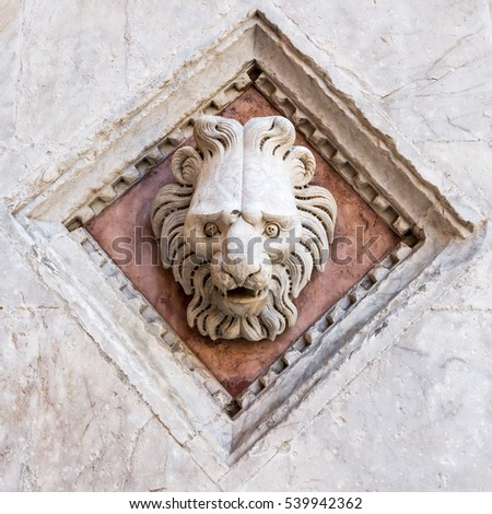 architectural detail of a church in Siena, Tuscany, Italy