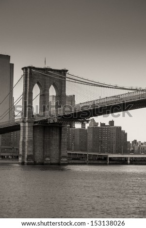 Architectural Detail of Brooklyn Bridge in New York City, U.S.A.