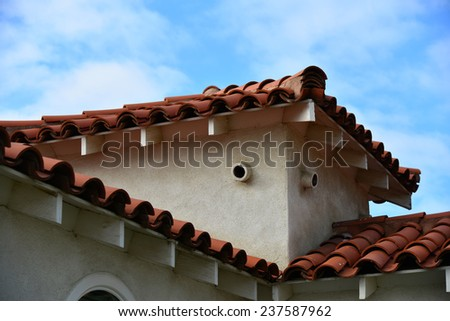 Architectural detail of colorful building exhibiting the Spanish or Mexican influence with roof tiles stucco & Mexican Influence Stock Images Royalty-Free Images u0026 Vectors ... memphite.com