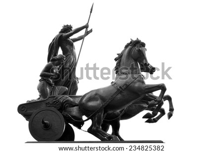 Architectural detail of equestrian architecture isolated against white  - stock photo