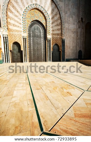 Architectural detail of Hassan II Mosque, Casablanca, Morocco, Africa - stock photo