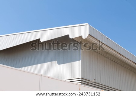 Architectural detail of metal roofing on commercial construction  - stock photo