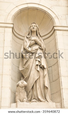 Architectural detail of religious architecture in Paris, France