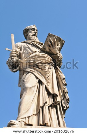 Architectural detail of Roman statue in Vatican, Rome