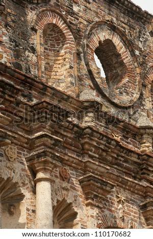 Architectural detail of San Ignacio de la Compania de Jesus church. Old Quarters, San Felipe, Panama City, Panama, Central America. - stock photo