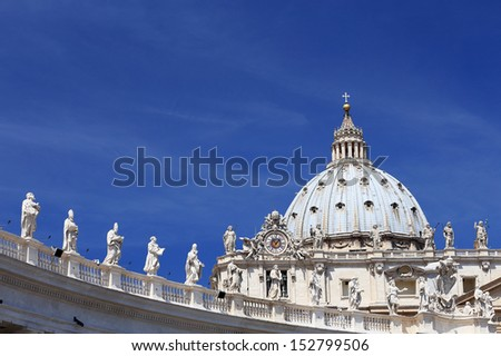 Architectural detail of San Pietro Square, Vatican, Rome, Italy - stock photo