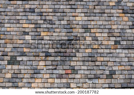 Architectural Detail of Slate Roof Tiles - stock photo