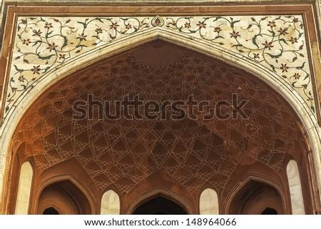 Architectural detail of Taj Mahal in India, Agra, Uttar Pradesh - stock photo