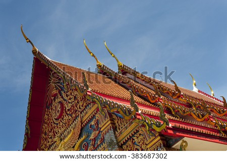 architectural detail of the buddhist temple of Wat mongkol nimit, Phuket town, Thailand - stock photo