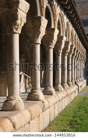 Architectural detail of the cathedral cloister of La Seu de Urgell in Catalonia.