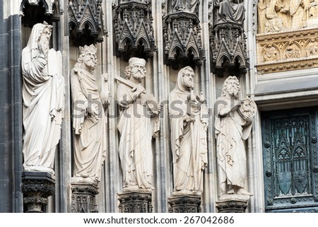 Architectural detail of The cathedral of Cologne, Germany, Europe - stock photo