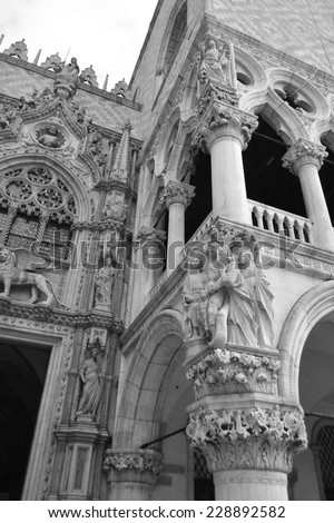 Architectural detail of the Doge's Palace (Palazzo Ducale) in Venice, Italy. Black and white. - stock photo