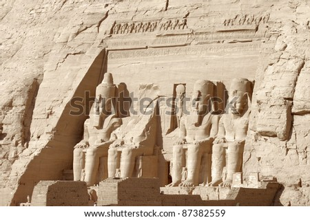 architectural detail of the historic Abu Simbel temples in Egypt (Africa) - stock photo