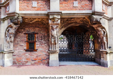 architectural detail of the historical devil house in Arnhem, Netherlands, that houses a part of the city hall - stock photo