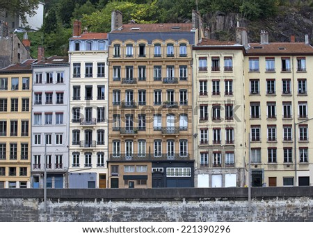 architectural detail of the old city of lyon in france - stock photo