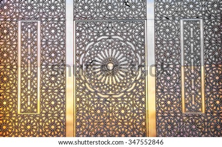 Architectural detail of the The Hassan II Mosque, Casablanca. It is the largest mosque in Morocco and the third largest mosque in the world  - stock photo