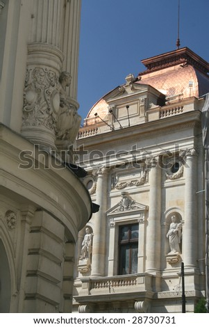Architectural detail of two classic buildings - stock photo