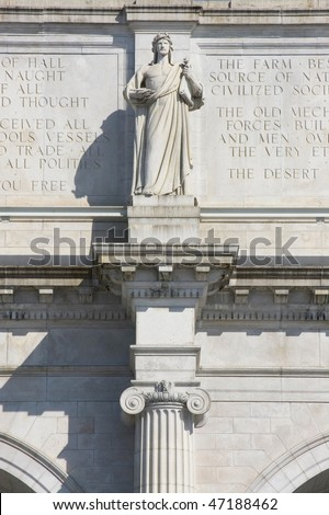 Architectural detail of Union station in Washington, DC - stock photo
