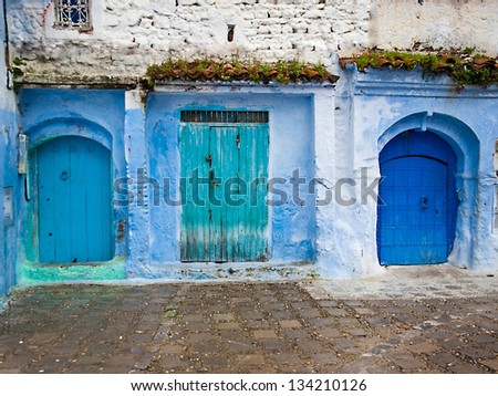 Architectural details and doorways of Morocco - stock photo