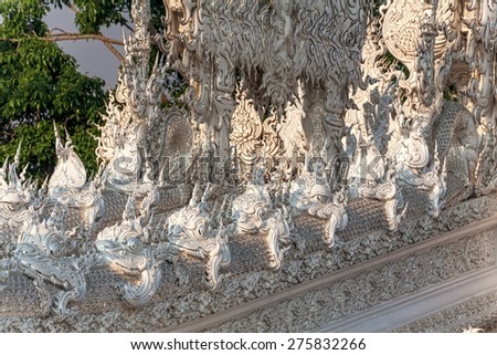 Architectural details in White Temple, Chiang Rai, Thailand.  Canon 5D MkII. - stock photo