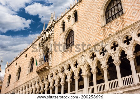 Architectural details of historical building in St Mark's Square, Venice, Italy.