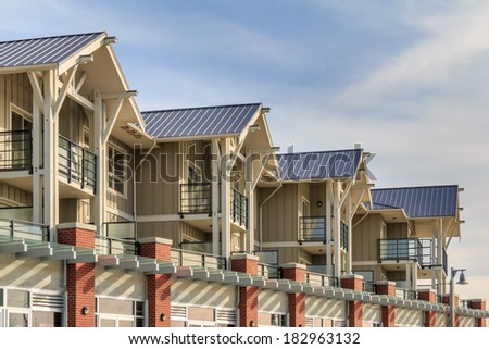 Architectural details of modern apartment building.  - stock photo