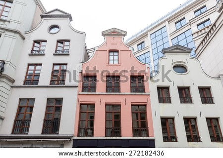 Architectural details of old houses in Brussels, Belgium. - stock photo
