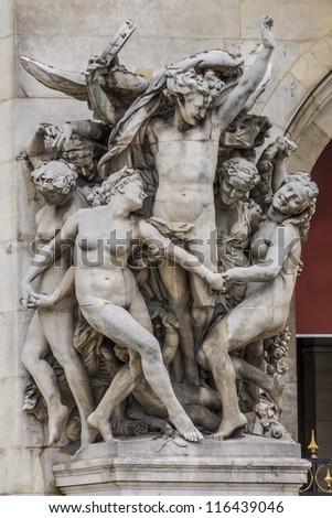 Architectural details of Opera National de Paris: Dance Facade sculpture by Carpeaux. Grand Opera (Garnier Palace) is famous neo-baroque building in Paris, France - UNESCO World Heritage Site. - stock photo