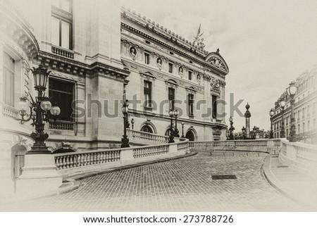 Architectural details of Opera National de Paris. Grand Opera (Garnier Palace) is famous neo-baroque building in Paris, France - UNESCO World Heritage Site. Antique vintage. - stock photo