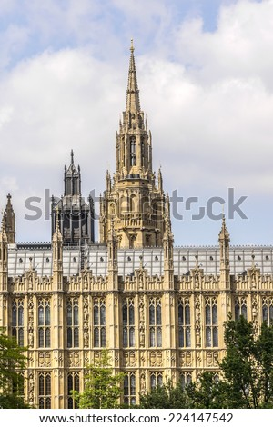 Architectural details of Palace of Westminster (known as Houses of Parliament) located on Middlesex bank of River Thames in City of Westminster, London.