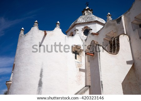 architectural details of the Atotonilco chapel exterior Mexico