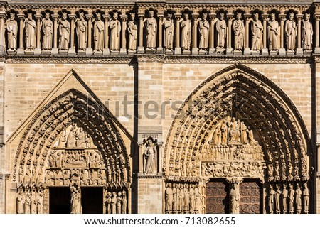 Architectural Details Of The Notre Dame De Paris Built In French Gothic Architecture