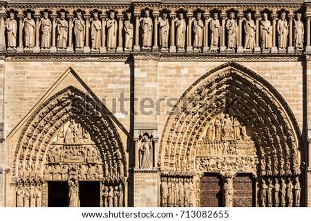 Architectural Details Of The Notre Dame De Paris Built In French Gothic Architecture